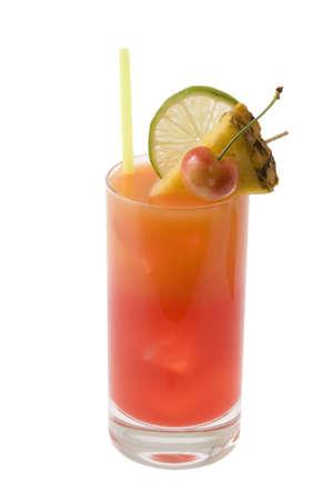 mai: Mai Tai mixed drink with fruit garnish on white background