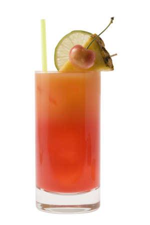highball: Mai Tai mixed drink with fruit garnish on white background