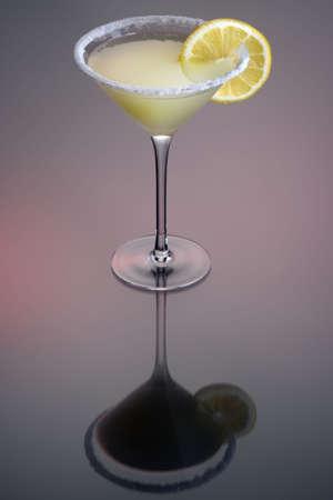 sidecar: Sidecar cocktail with orange garnish on grey background Stock Photo