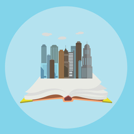Whole world in the book flat style modern concept web vector illustration collage. Illustration