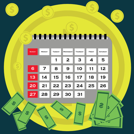 paying bills: Debt concept vector flat design. Saving money for paying bills. Business, finance and investment concept. Saving money concept. Vector illustration.