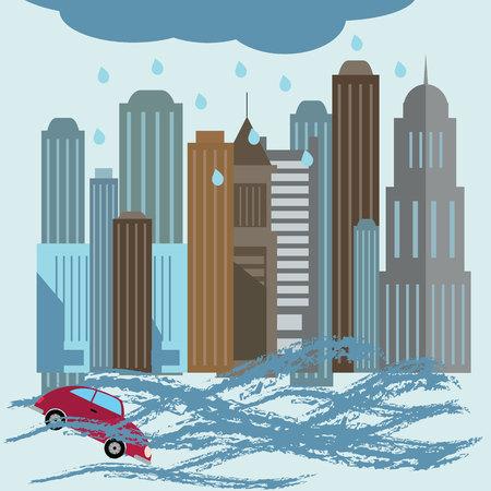 meteorite: Natural disaster catastrophe.Flood disaster concept illustration.