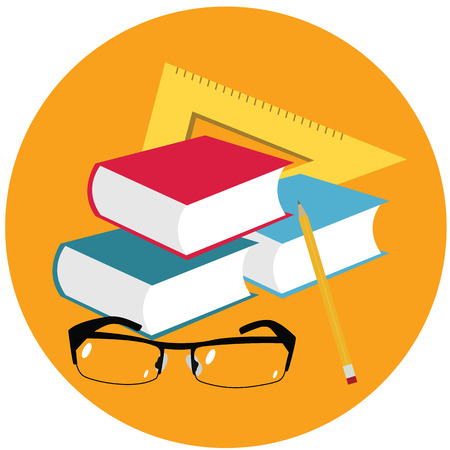 straightedge: World teacher`s day.Book, glasses, pen and straightedge vector.
