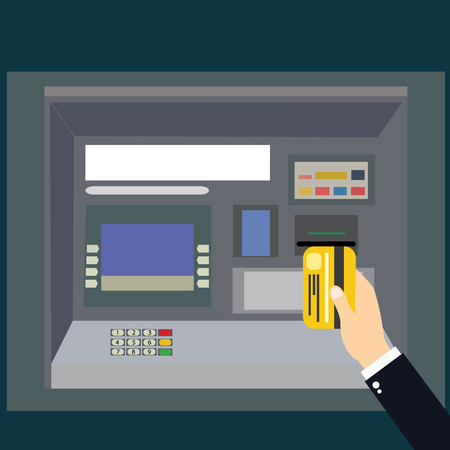 technology transaction: ATM payment vector illustration. ATM machine with hand and credit card. Withdrawing money from card concept. Payment using credit card. ATM terminal usage.