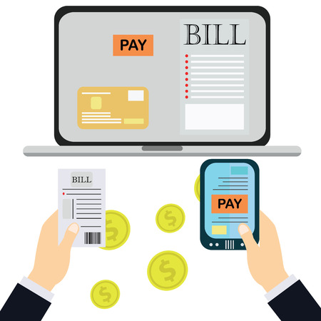 medical bill: Paying bills, hand holding bills vector.Calculator icon and vector.
