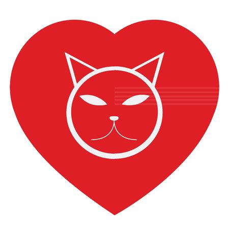 forme: vecteur chat et forme de coeur Illustration