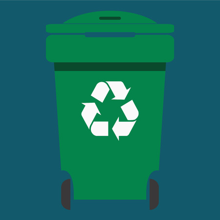 environmentalist: Different colored recycle waste bins vector illustration,