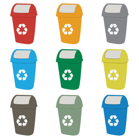 environmentalist: Different colored recycle waste bins vector illustration.Colored waste bins with trash.