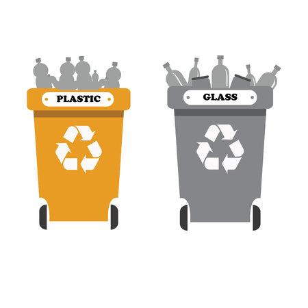 separacion de basura: papeleras de reciclaje con la separación de basura