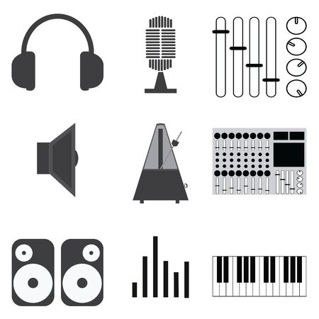 disk jockey: Music Icons and vector.