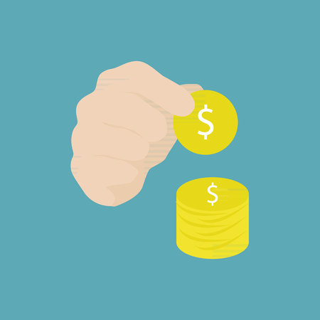 hand holding coin vector and icon.