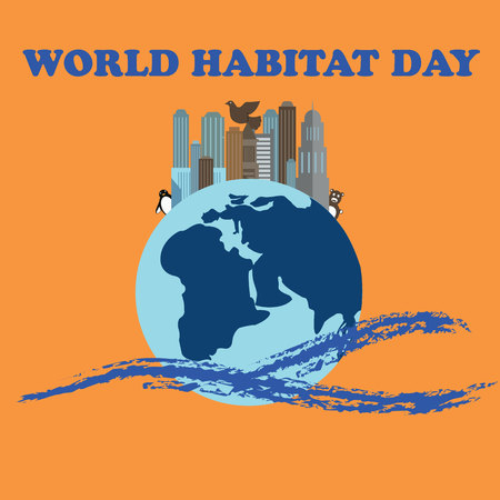 habitat: Vector illustration for World Habitat Day. Suitable for greeting card, poster and banner.