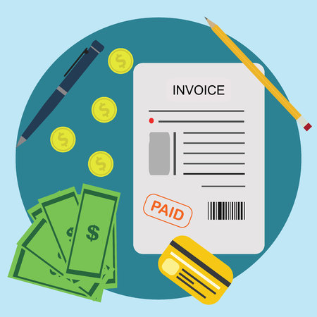 vat: Invoice Bill Paid Payment Financial Account Concept
