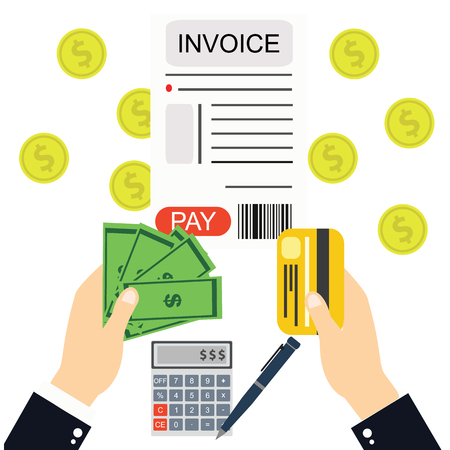invoices: Paying bills and invoices, hand holding money vector.