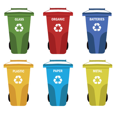 compost: Different colored recycle waste bins vector illustration.Colored waste bins with trash.