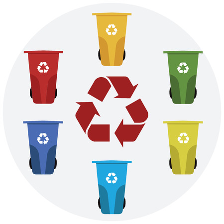 segregate: Different colored recycle waste bins vector illustration.Colored waste bins with trash.