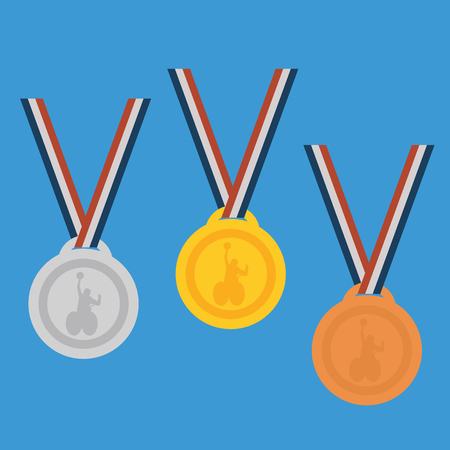 bronze medal: Gold ,Silver,Bronze medal set.Medals for peoples with disabled activity. Illustration