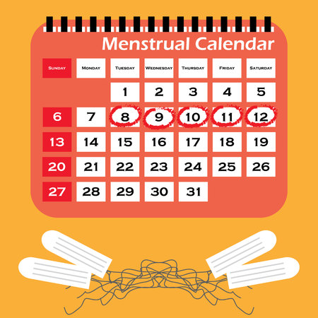 Menstruation calendar with cotton tampons. Woman hygiene protection. Woman critical days.