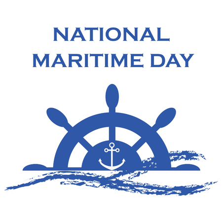 National Maritime Day with rubber and anchor. Ilustração