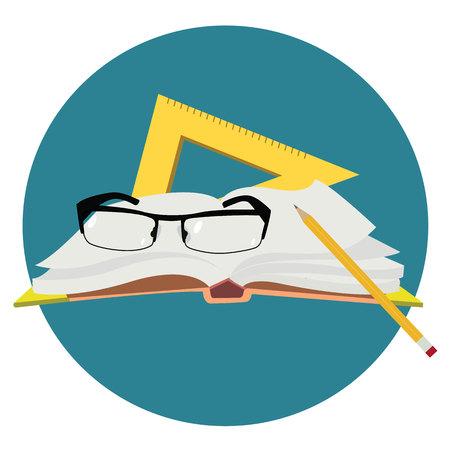 World teacher`s day.Book, glasses, pen and straightedge vector.