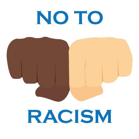 acquaintance: No to racism illustration. Discrimination symbol. Illustration
