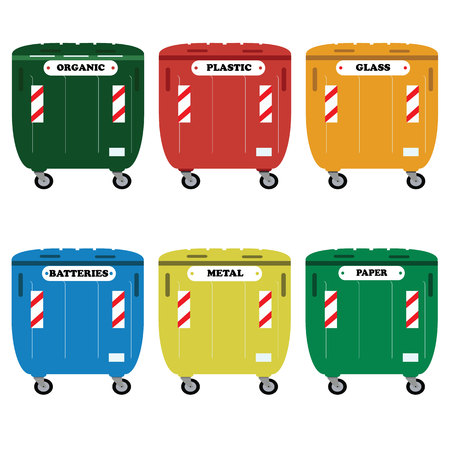 segregate: Different colored recycle waste bins illustration.Colored waste bins with trash.