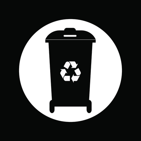 segregate: Different colored recycle waste bins vector illustration.Black waste bins with trash icon.