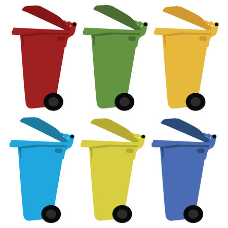segregate: Different colored recycle waste bins vector illustration with trash.