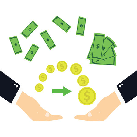 The transfer of money.Hands transferring money