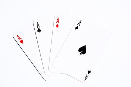 Schürhakenkarte vier Asse auf weißem Hintergrund Standard-Bild - 81863221