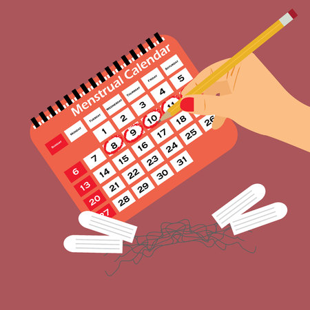 Menstrual calendar with tampons and pads. Menstruation cycle, hygiene and protection.