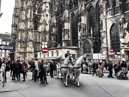 Vienna, Austria - November 1, 2018 - View of the St. Stephens Cathedral, the main church of Vienna. Poeple are walking around and visiting the city