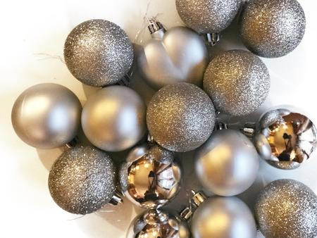 Shot of a group of ball decorations commonly used to adorn Christmas trees