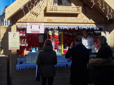 Annecy, France - December 07, 2018: A kiosk at the famous