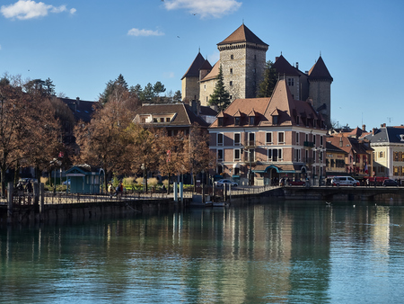 Annecy, France - December 07, 2018: View of the river