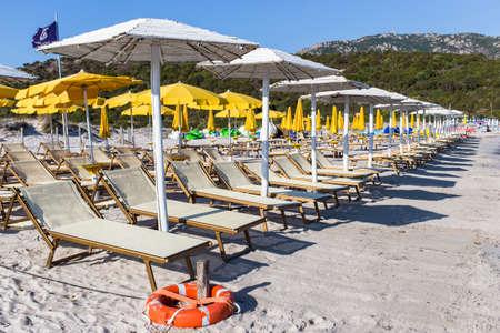 sunbeds: beach Stock Photo