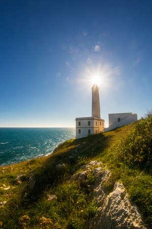 otranto lighthouse over blue adriatic sea, apulia region in southern italy