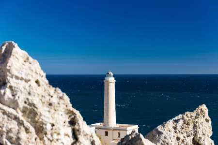 otranto lighthouse over blue adriatic sea, apulia region in southern italy