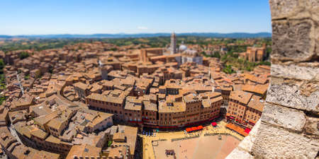aerial birds eye view of siena tilt shifted Stock Photo