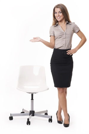 businesswoman skirt: Have a seat, please