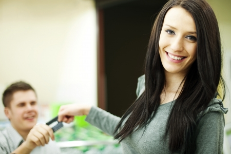 paying with credit card: Paying credit card for purchases Stock Photo