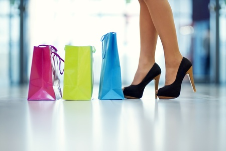 Shopping bags and legs photo