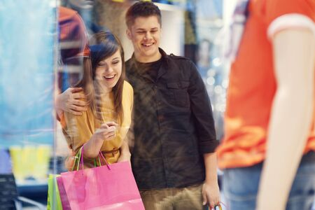 Young couple during shopping photo