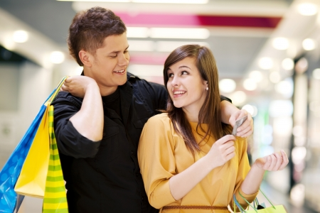 Young couple doing shopping photo
