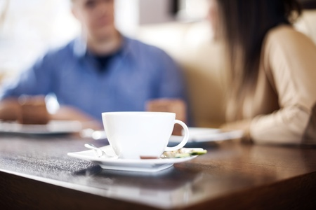 tomando café: Tiempo del café Foto de archivo