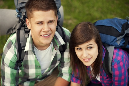 Young couple in forest Stock Photo - 18182463