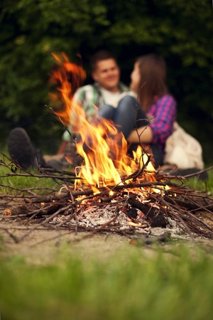 sitting area: Campfire Stock Photo