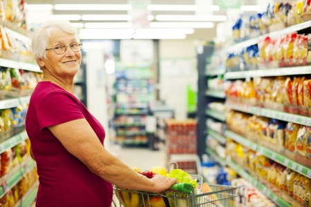 Portrait of senior woman at supermarket Stock Photo - 18184414