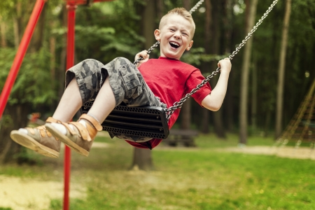 Little boy swinging photo
