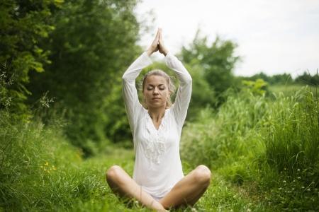 Practising yoga Stock Photo - 18185058